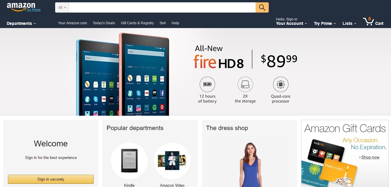 Amazon eCommerce website - screenshot